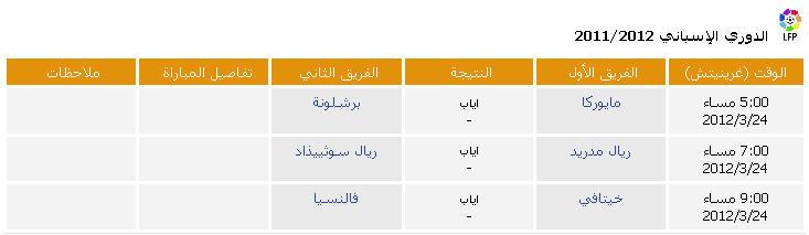 مبـــــاريات اليوم 24/03/2012