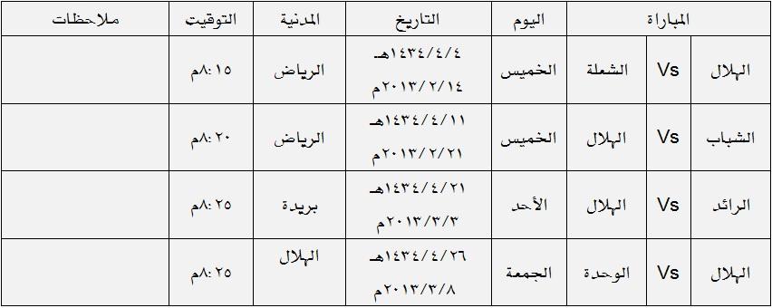 جدول مباريات الهلال في دوري زين 2012 2013