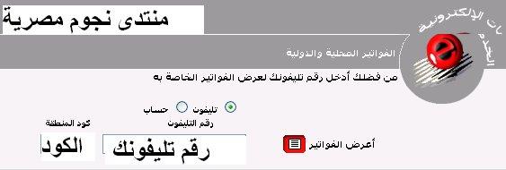 فاتورة التليفون الارضى شهر ابريل 2014 من المصرية للاتصالات