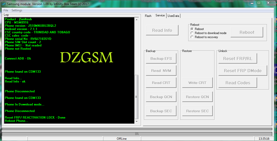 حذف FRP google بضغطة زر لجهاز J5-6 SM-J510 مع InfinityBox SM