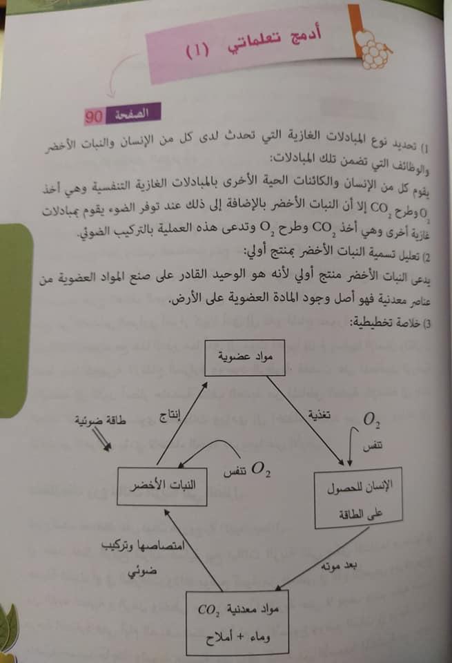 حل أدمج تعلماتي صفحة 90 علوم طبيعية للسنة الأولى متوسط الجيل الثاني